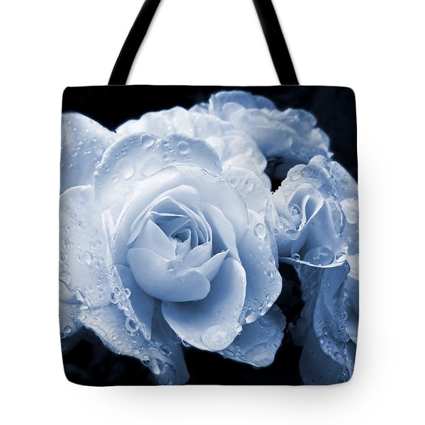Blue Roses With Raindrops Tote Bag by Jennie Marie Schell