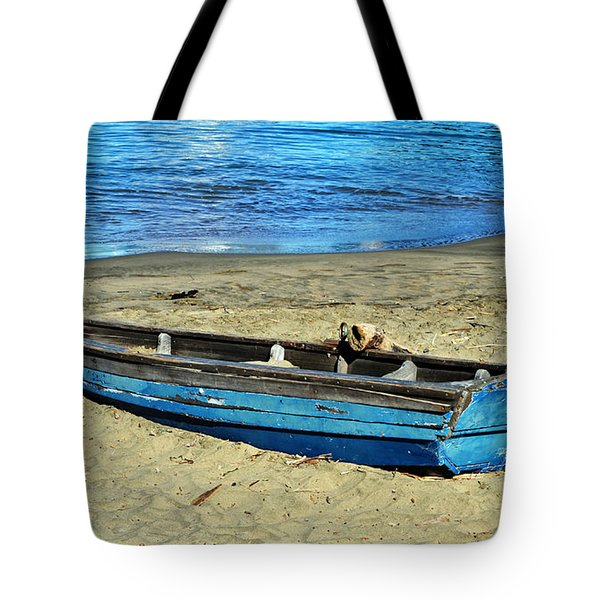 Blue Rowboat Tote Bag by Holly Blunkall