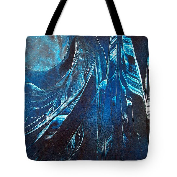Blue Satin Tote Bag