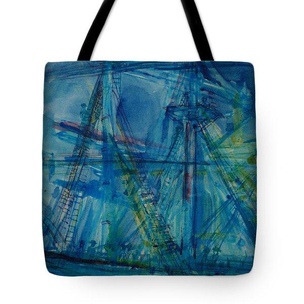 Blue Schooner Pen & Ink With Wc On Paper Tote Bag