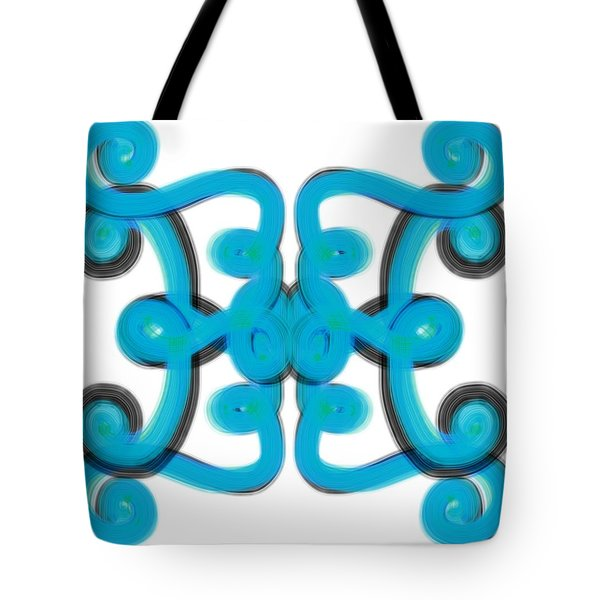 Tote Bag featuring the digital art Blue Scroll Square by Christine Fournier