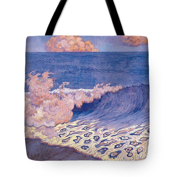 Blue Seascape Wave Effect Tote Bag by Georges Lacombe