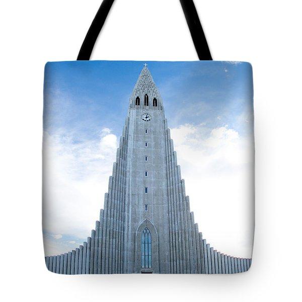 Blue Skies Over Hallgrimskirkja Tote Bag