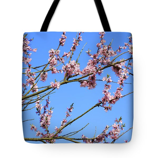 Blue Sky And Pink Blossom. Tote Bag