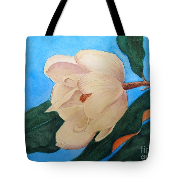 Tote Bag featuring the painting Blue Sky Magnolia by Nancy Kane Chapman