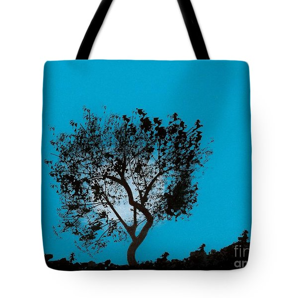 Tote Bag featuring the drawing Blue Sky Moon by D Hackett