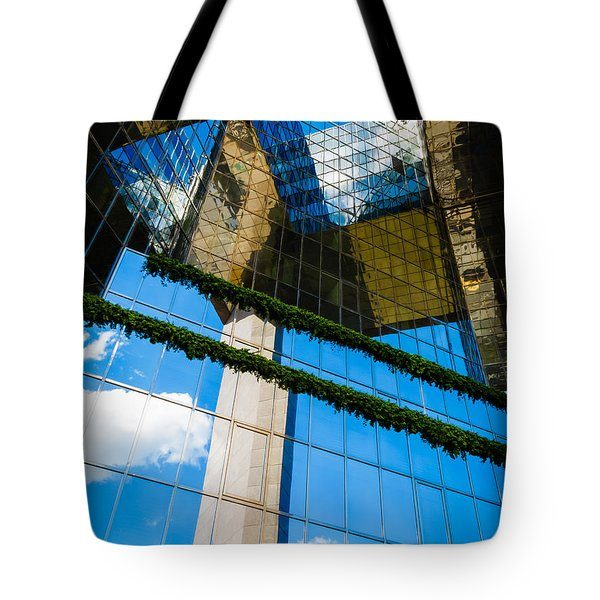 Tote Bag featuring the photograph Blue Sky Reflections On A London Skyscraper by Peta Thames