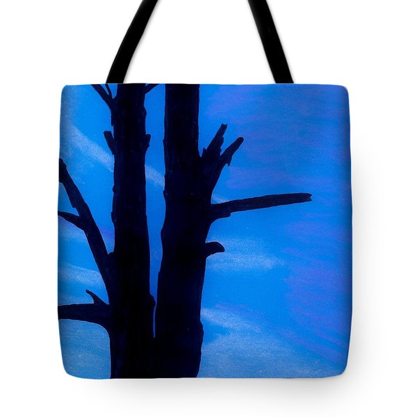 Tote Bag featuring the drawing Blue Sky Tree by D Hackett