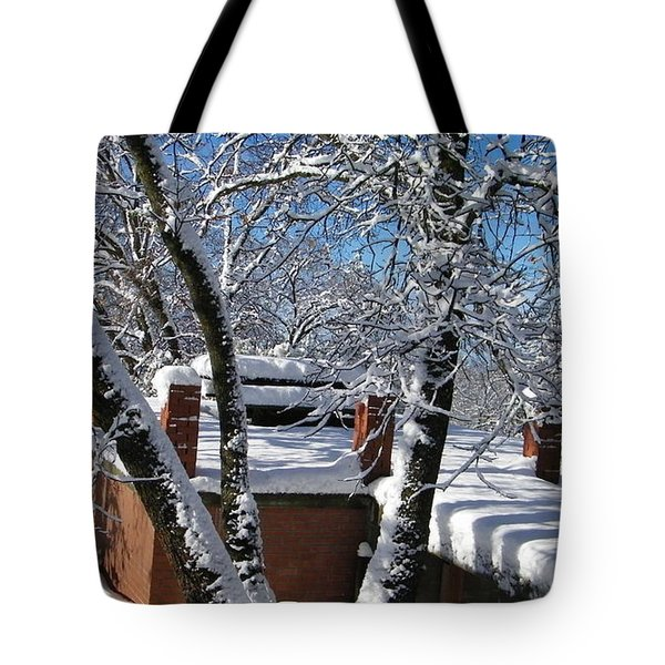 Blue Sky-white Snow Tote Bag