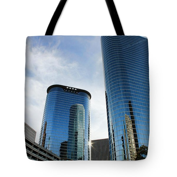 Blue Skyscrapers Tote Bag by Judy Vincent