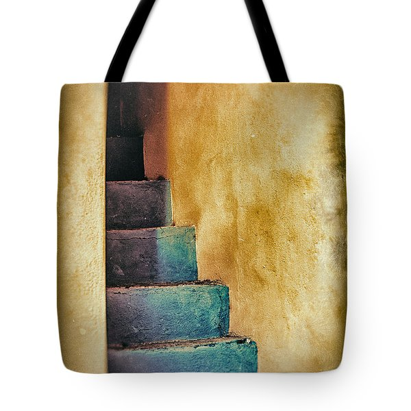 Blue Stairs - Yellow Wall    Tote Bag