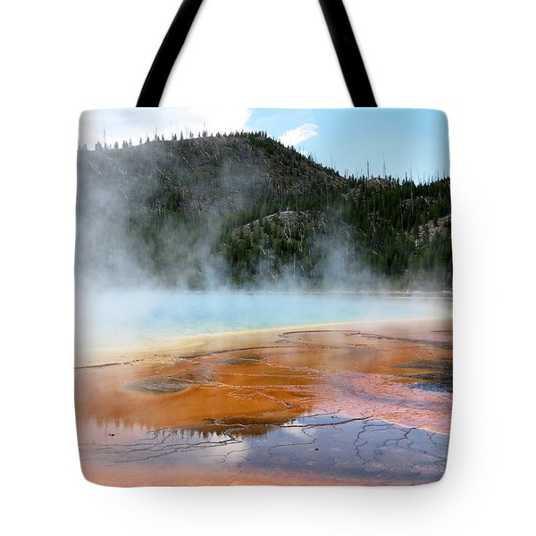 Tote Bag featuring the photograph Blue Steam by Laurel Powell