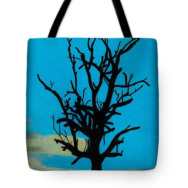Tote Bag featuring the drawing Blue Sunset by D Hackett