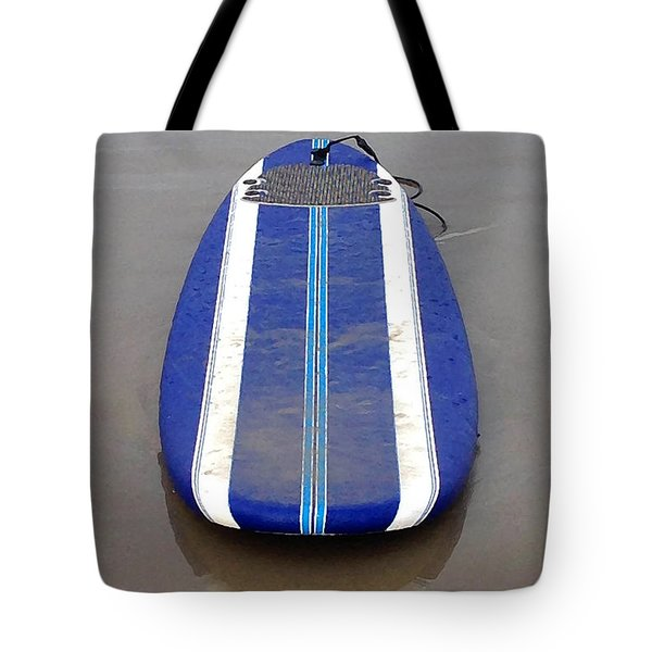 Tote Bag featuring the photograph Blue Surfboard by Art Block Collections