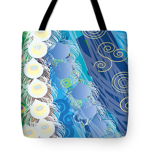 Tote Bag featuring the digital art Blue Swirls Detail by Kim Prowse