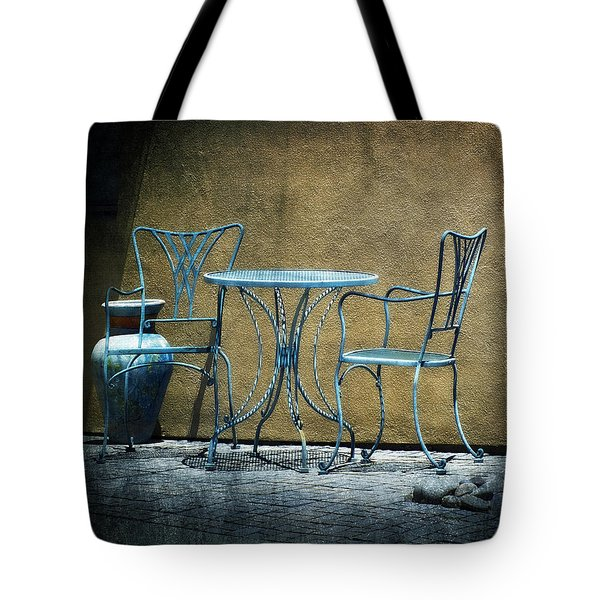 Tote Bag featuring the photograph Blue Table And Chairs by Lucinda Walter