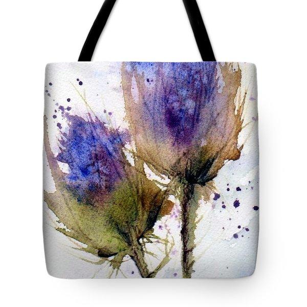 Blue Thistle Tote Bag by Anne Duke