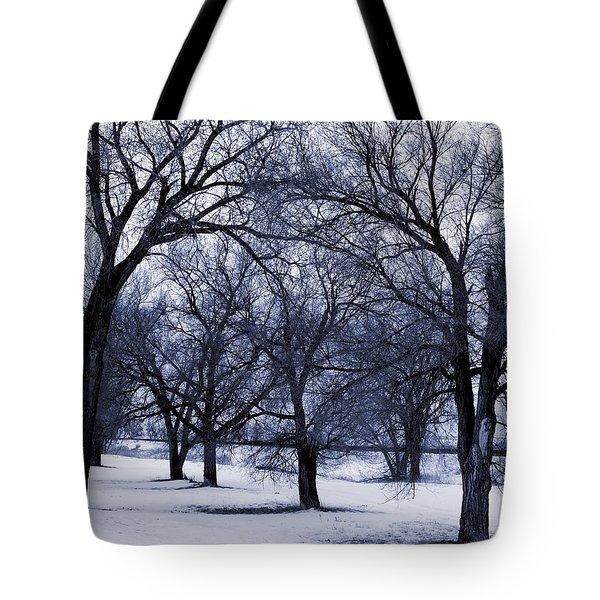 Tote Bag featuring the digital art Blue Tone Trees by Aliceann Carlton