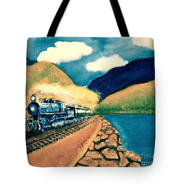 Tote Bag featuring the painting Blue Train by Denise Tomasura