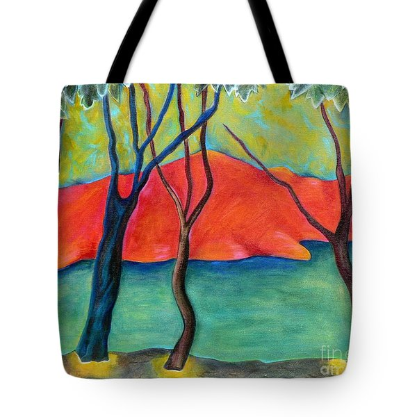 Blue Tree 2 Tote Bag by Elizabeth Fontaine-Barr