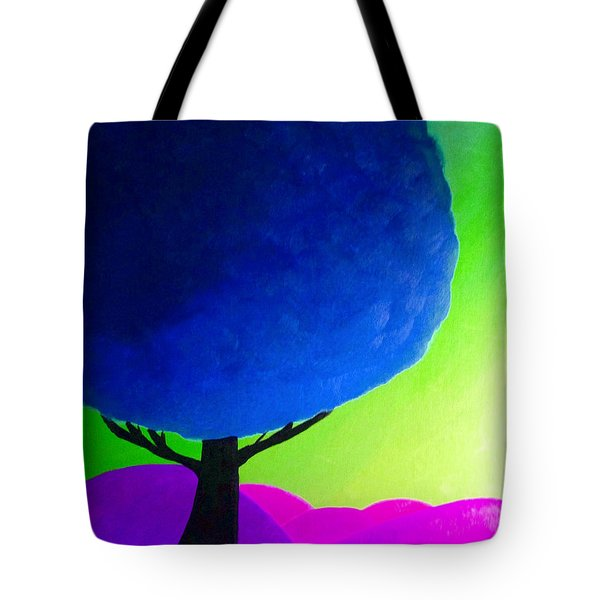Blue Tree Tote Bag by Anita Lewis
