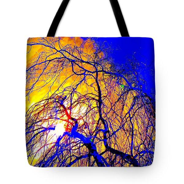 Blue Trees Tote Bag by Jodie Marie Anne Richardson Traugott          aka jm-ART
