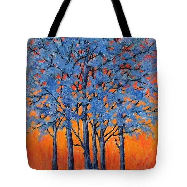Blue Trees On A Hot Day Tote Bag