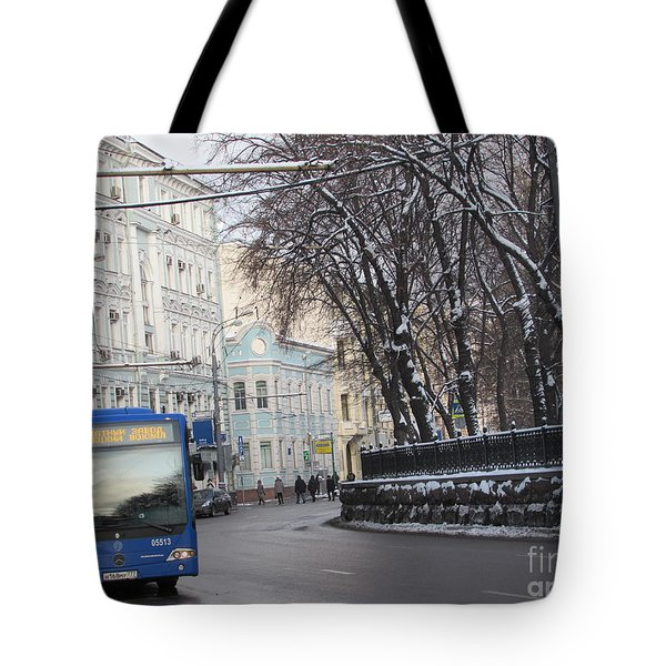 Blue Trolleybus Tote Bag