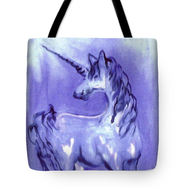 Blue Unicorn Tote Bag by Carol Rowland