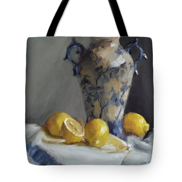 Blue Vase And Lemons Tote Bag