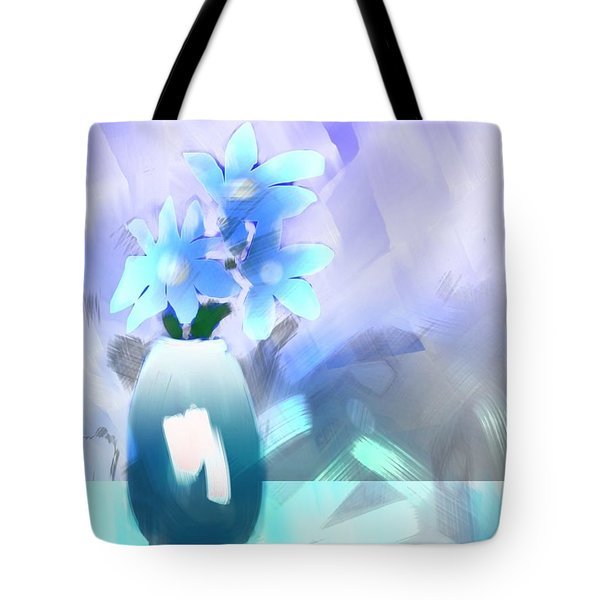 Tote Bag featuring the digital art Blue Vase Of Flowers by Frank Bright
