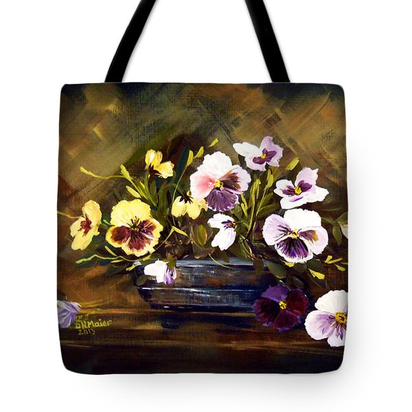 Blue Vase With Pansies Tote Bag