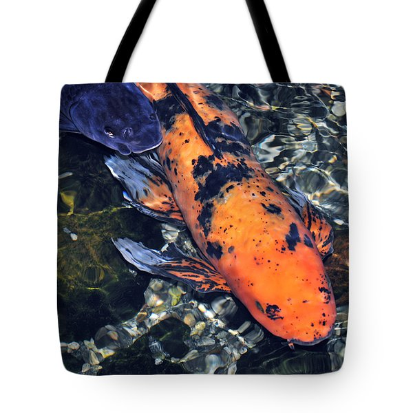 Tote Bag featuring the photograph Blue Velvet And Goldie Koi by Susan Wiedmann