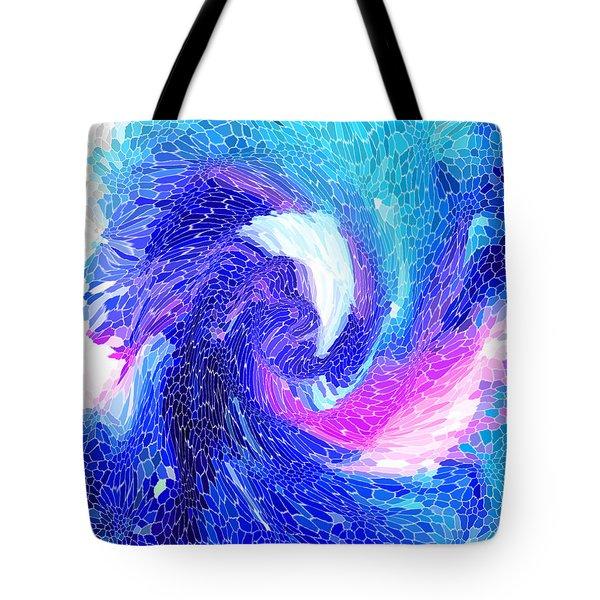 Tote Bag featuring the digital art Blue Vortex by Mariarosa Rockefeller