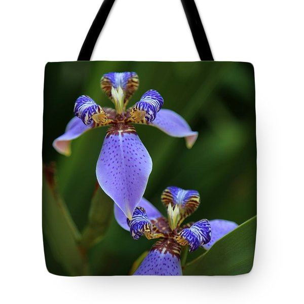 Blue Walking Iris Tote Bag by Carol Groenen