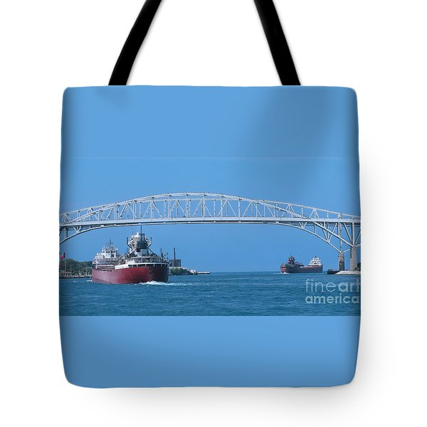 Blue Water Bridge And Freighters Tote Bag