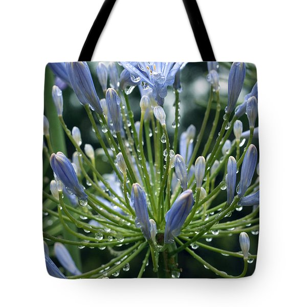 Tote Bag featuring the photograph Blue Water Drops - 2 by Haleh Mahbod