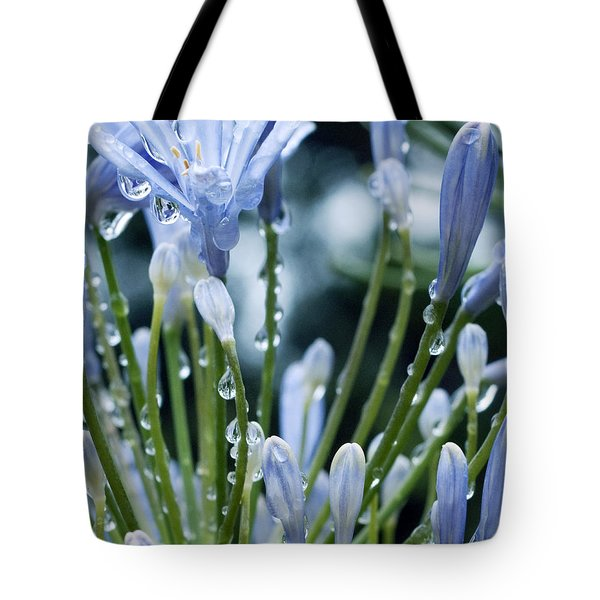 Tote Bag featuring the photograph Blue Water Drops -3  by Haleh Mahbod
