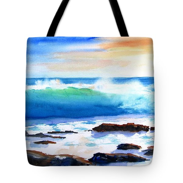 Blue Water Wave Crashing On Rocks Tote Bag