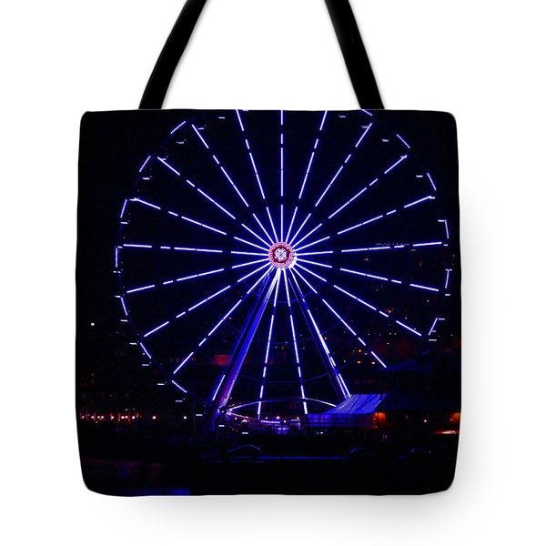 Blue Wheel Of Fortune Tote Bag by Kym Backland