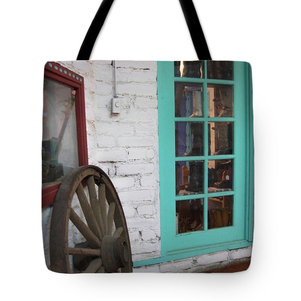 Tote Bag featuring the photograph Blue Window And Wagon Wheel by Dora Sofia Caputo Photographic Art and Design