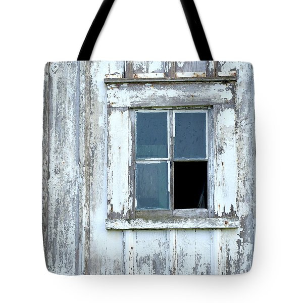 Blue Window In Weathered Wall Tote Bag
