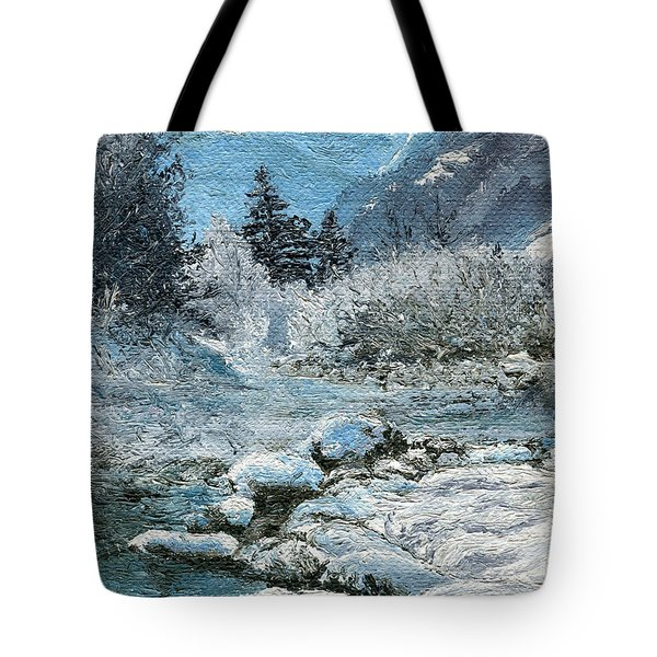 Tote Bag featuring the painting Blue Winter by Mary Ellen Anderson