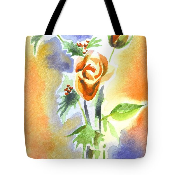 Blue With Redy Roses And Holly Tote Bag by Kip DeVore