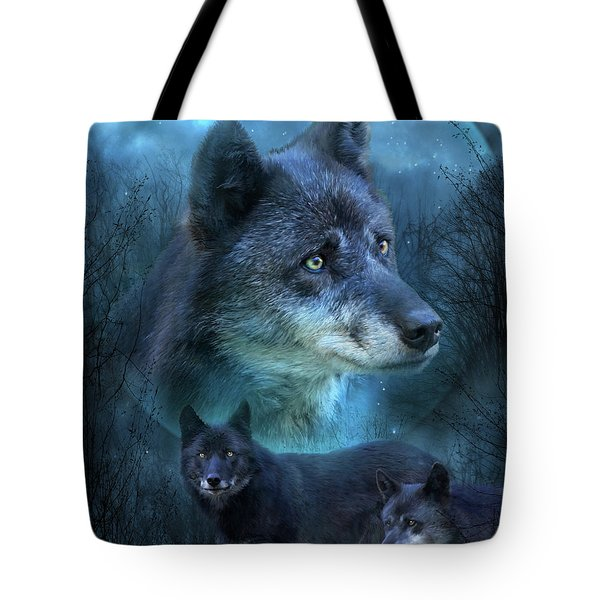 Blue Wolf Tote Bag by Carol Cavalaris