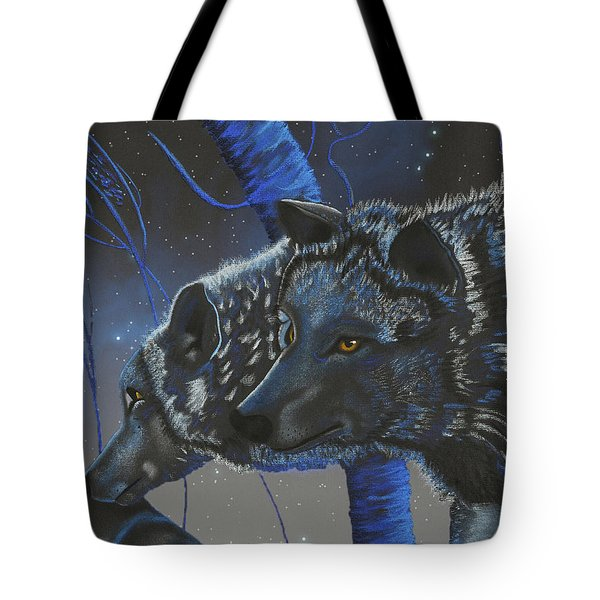 Blue Wolves With Stars Tote Bag