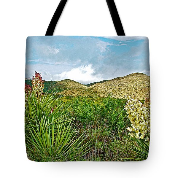 Blue Yucca And Chisos Mountains In Big Bend National Park-texas Tote Bag by Ruth Hager