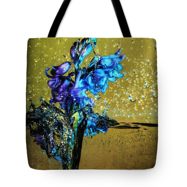 Tote Bag featuring the mixed media Bluebells In Water Splash by Peter v Quenter