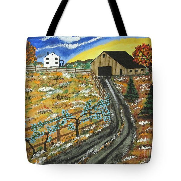 Tote Bag featuring the painting Blueberry Farm by Jeffrey Koss