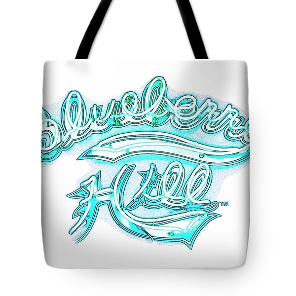 Blueberry Hill Inverted In Neon Blue Tote Bag